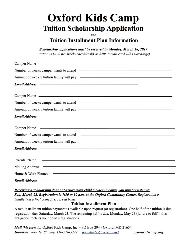 Scholarship Form 2019 – Oxford Kids Camp
